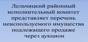Неиспользуемое имущество Лельчицкого района, предлагаемое к продаже